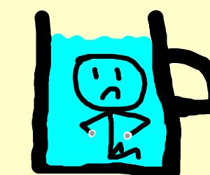small man in full water jug