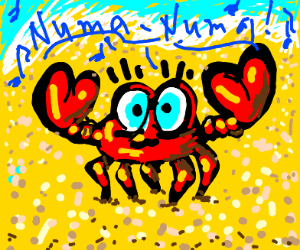 A crab singing the Numa Numa song