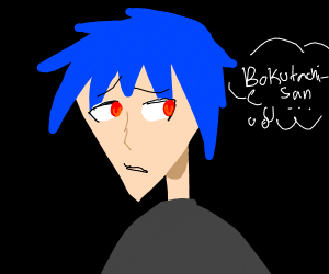 sad blue haired anime character