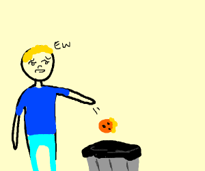 Guy throws trump orange in trash