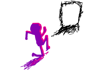 purple man running to the black scribbles