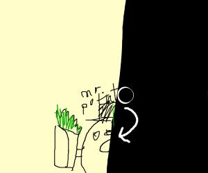 Mr. Potato Head hiding with a Burrito