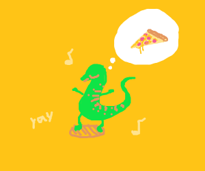 Lizard dancing for pizza time