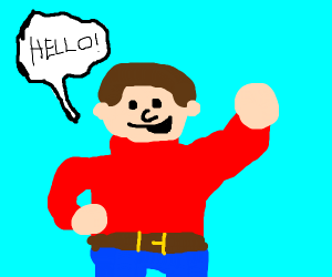 person in a red sweater greets you