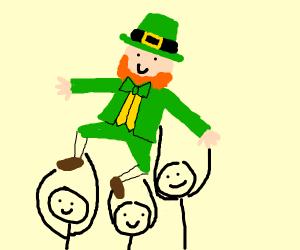 Three guy holding a leprechaun