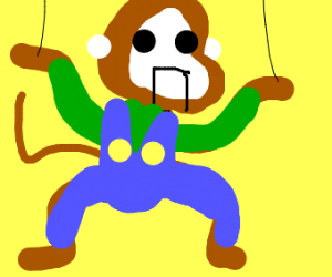 Monkey puppet from the meme with Luigi outfit