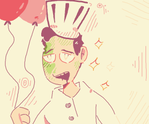 Zombie chef has balloons for you
