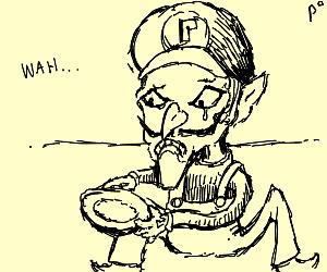 waluigi looks sadly at empty plate. feed him.