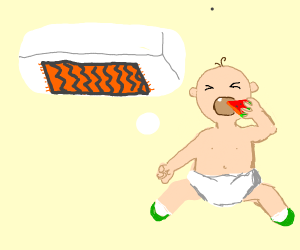 Baby eating watermelon and thinking about mat