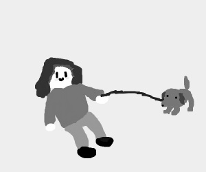 Little tyke takes her puppy for a walk