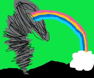 A tornado puking a rainbow