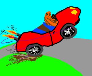 a goldfish driving a car
