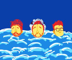 three bros chillin in the ocean