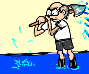 Balding man shovels water