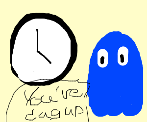 Pac-Man ghost says to clock that it's dug up
