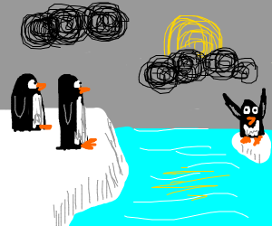 Two penguins watch penguin on melted iceberg
