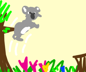 Koala jumping over Flowers