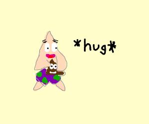 patrick hugs his poop emoji
