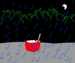 Yoghurt pot and spoon caught in the rain.