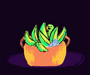 Bird hiding in a baskey full of bananas