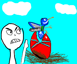 Bird escapes red egg; man upset about it