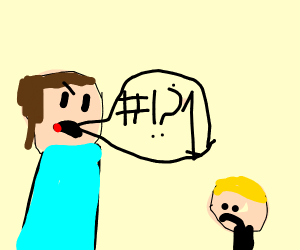 Big man cursing at a confused little man