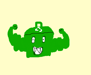 Green garbage can with muscles