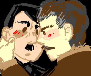 Hilter and Stalin nose kiss in anger