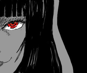 A woman w read eyes, bangs smiles creepy