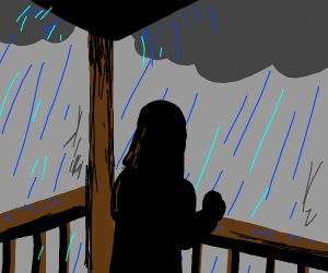 Woman on porch in rain storm.