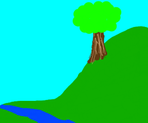 grassy hill with a tree and a river