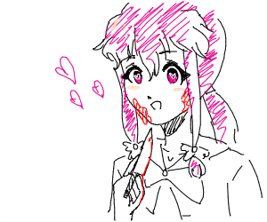 a creey girl with pigtails and a knife