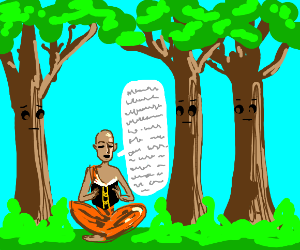 Man reads book to patient trees