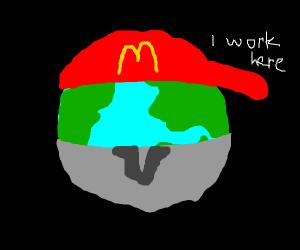 earth wearing mcdonalds uniform
