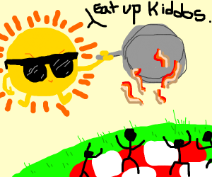 The sun cooking bacon for earthling picnic