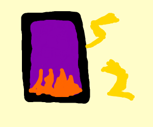 A flame portal with lightning.