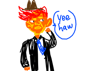 Donald Trump but he's a red haired cowboy