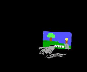 Doggo playing Minecraft