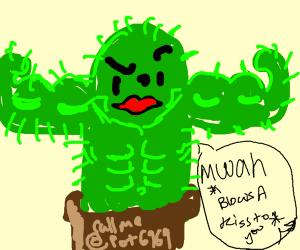 Buff cactus blows you a kiss