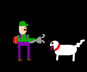 luigi fights a ghost dog