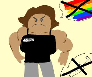 Homophobic Anti-Vax very muscular lady