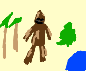 hairy bigfoot in the forest