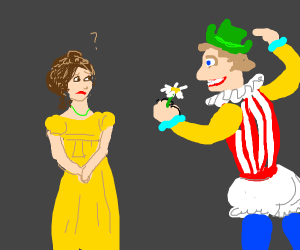 Weird man giving flower to a character from a