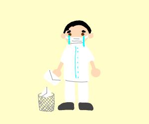 Sad doctor throws away mail