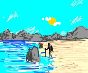 Old man walking down beach