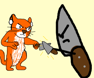 cat with a knife vs knife with a knife
