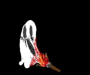 Ghost on fire from torch