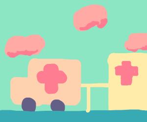 Ambulance backing up INTO hospital