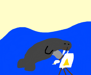 Walrus drawing pyramid underwater