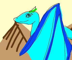 Dragon flies over mountains
